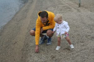 Baby Zoe and John at Stinton Beach